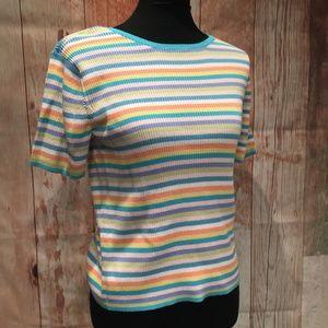 pastel striped crew neck 100% cotton sweater P145